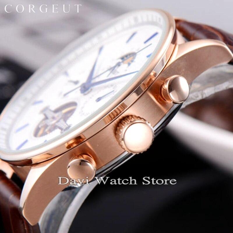 Corgeut 44mm Rvs Rose gold Case Maanfase Datum Dag Heren Automatische heren horloges - 3