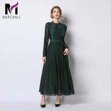 Merchall 2019 Runway New Arrive Pleated Long Dress Sleeve Dark Green Elegant Women Fashion Designer Party Maxi Dresses