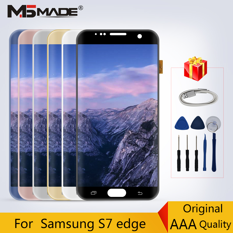 Original For Samsung Galaxy S7 Edge G935 LCD Display Touch Sreen Digitizer Replacement Parts For S7+ G935F LCD 5.5 No Shadow