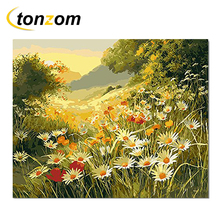 RIHE Sunset Sunflower Grassland Drawing By Numbers Forest DIY Painting Handwork On Canvas Oil Art Coloring Home Decor