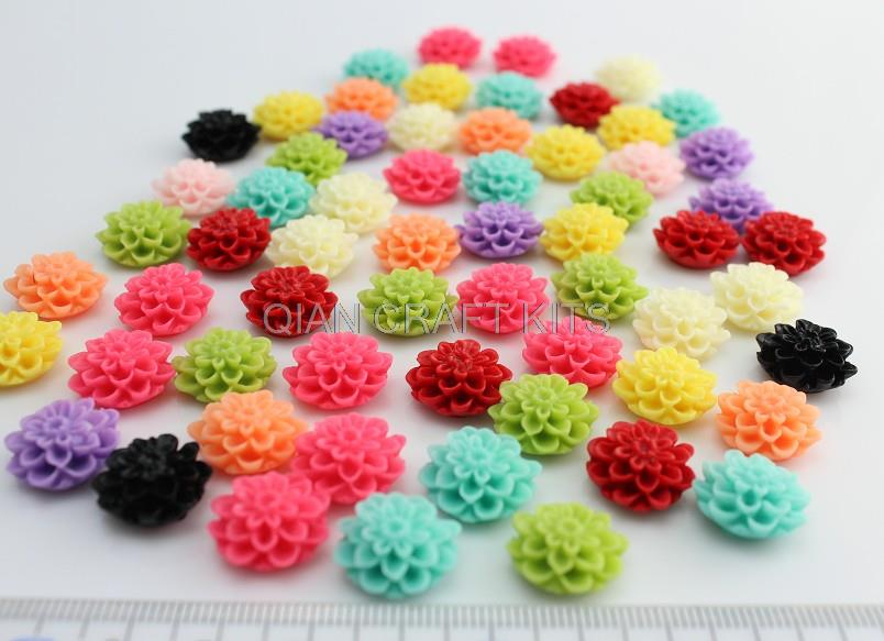 300pcs mixed colors Resin Shiny Mum dahlia Flowers Cab Cabochons 16mm for cell phone decor,earring accessories D10