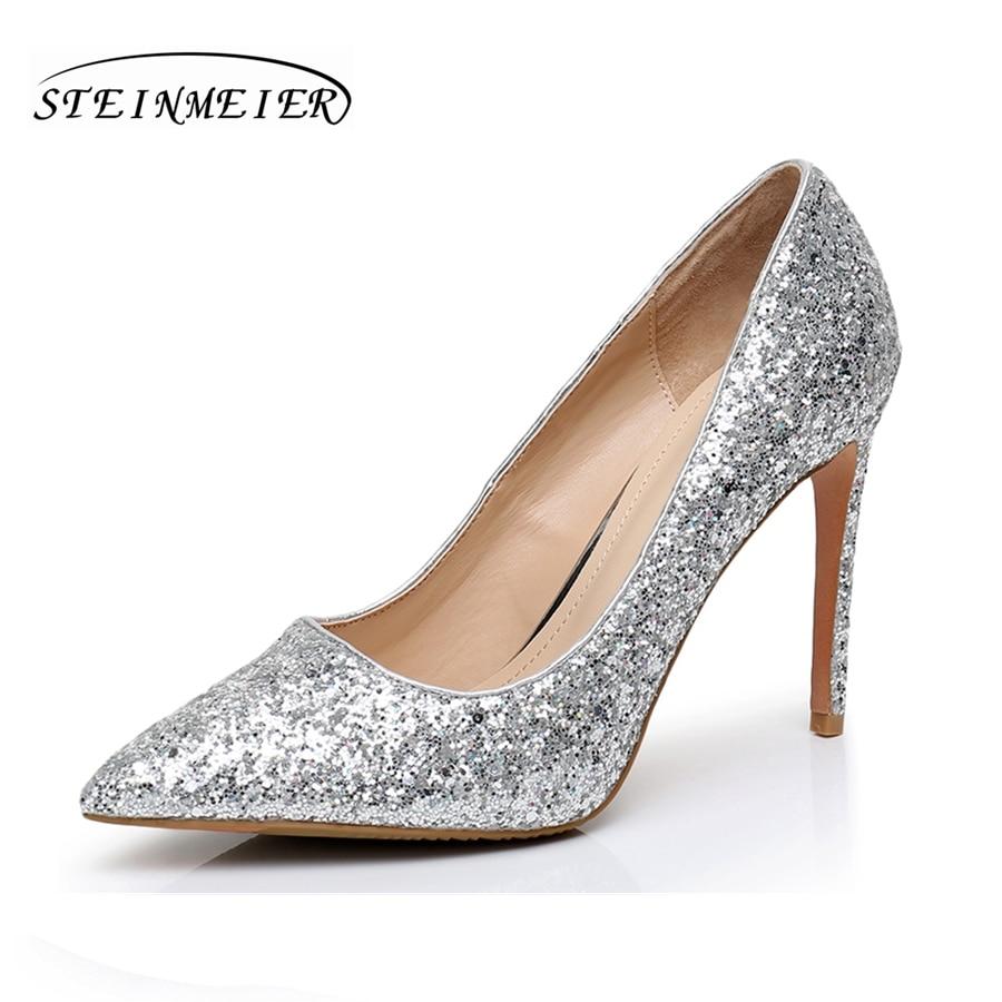 ffdd6a9689f9 Women sexy party high heels shoes nightclub shallow thin heel 10.5cm 8.5cm  women s silver wedding shoes
