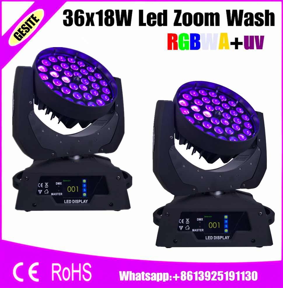 2pcs/lot led zoom 36x18w with RGBWAUV dmx 512 19 channels for dj disco ZOOM washing lyre light