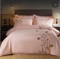 2017エジプト綿ピンク蝶刺繍高級寝具セット4ピース王クイーンサイズの女の子ベッドセット布団カバーベッドシート