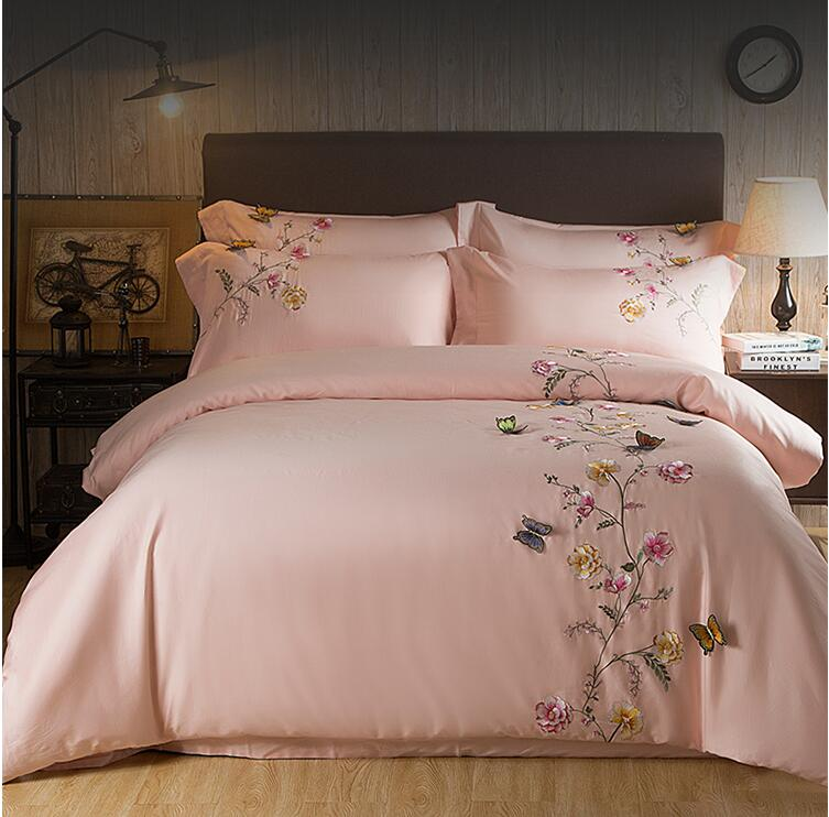 2017 Egypt Cotton Pink Butterfly Embroidery Luxury Bedding
