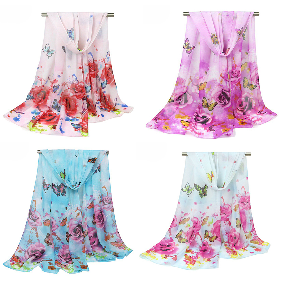 Wholesale 12pcs Butterflies with Rose Floral Printed High Quality Women's Fashion Chiffon Scarf Shawl in Summer Beach, Mix Color