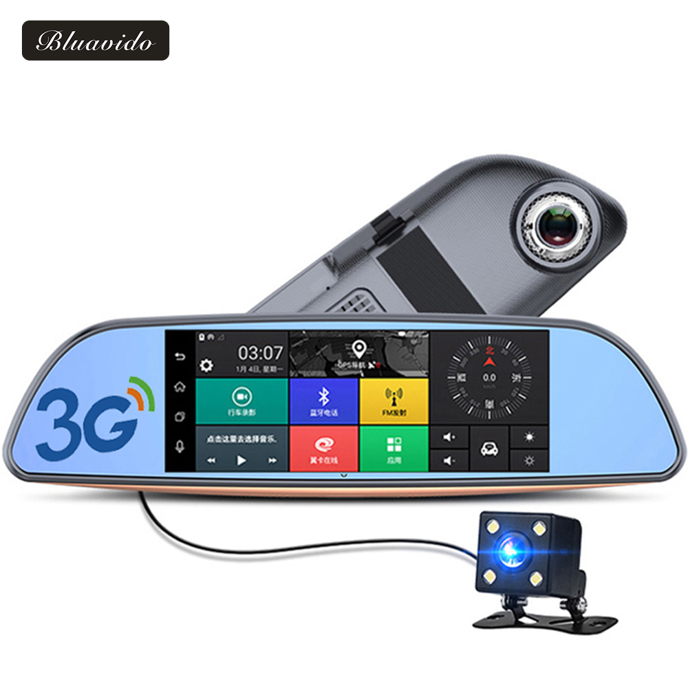Bluavido 7 Inch 3G Car Rearview mirror DVR Android GPS Navigator full hd 1080P video Camera recorder WiFi Bluetooth car detector pvt 898 5g 2 4g car wifi display dongle receiver airplay mirroring miracast dlna airsharing full hd 1080p hdmi tv sticks 3251