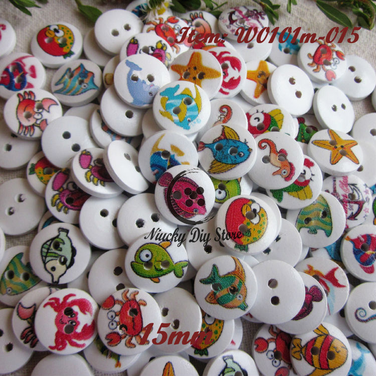 Buy 144pcs 15mm mixed fish series wooden for Decorative buttons for crafts