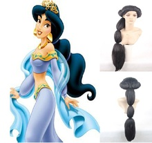 Hot sale Anime Aladdin Jasmine princess Long Black Wig classic halloween women Cosplay Wig + wig cap free shipping