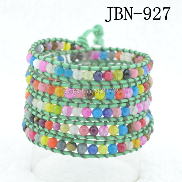 new arrival natural wrap color leather  mix stone waving bangles  handmade jewelry Winding braceletJBN-927