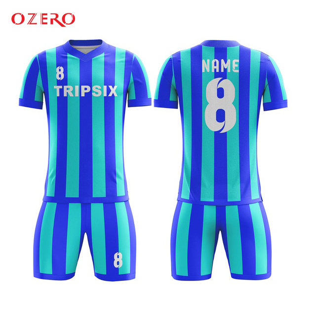 055f62d2e53 custom design professional yellow blue polyester striped soccer jersey  manufacturer