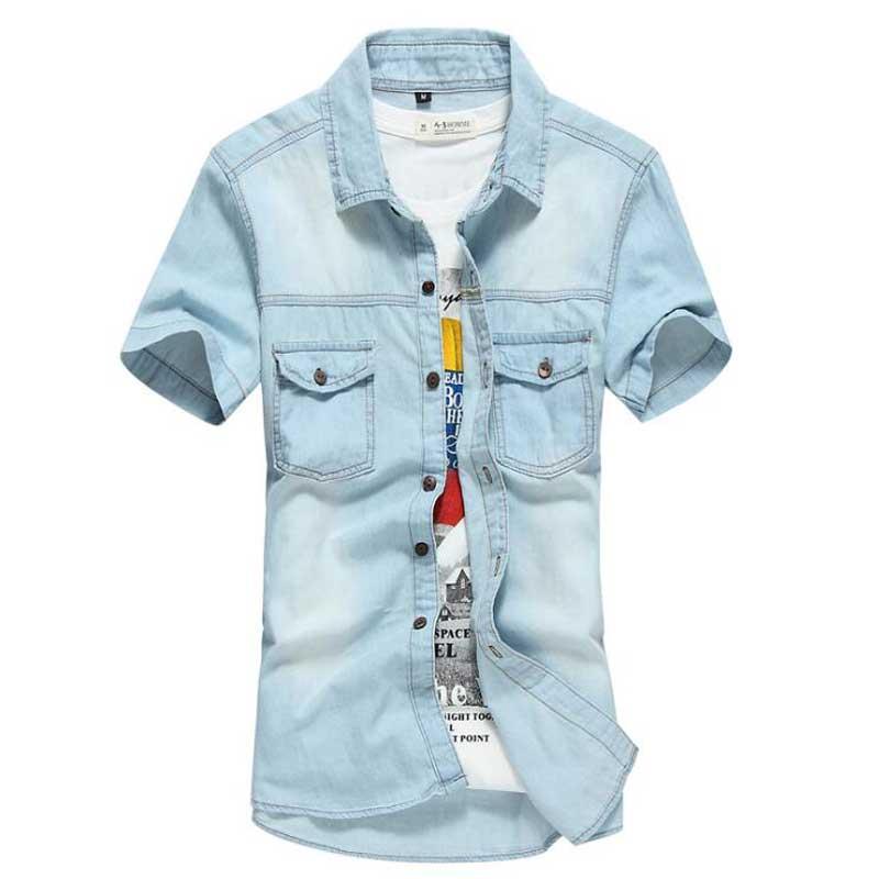 Men/'s Denim Shirt Slim Casual Shirts Button Short Sleeve Wash Jeans Dress Shirts