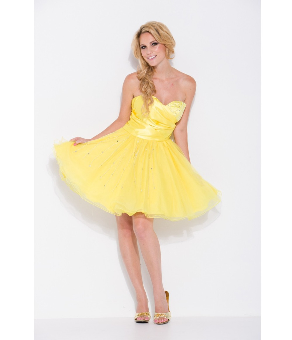 Buy hot sale yellow sweetheart short graduation dresses for Yellow wedding dresses for sale