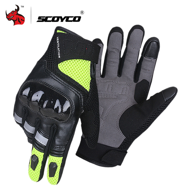 SCOYCO Motorcycle Gloves Summer Breathable Moto Gloves Leather Touch Function Motorbike Gloves Guantes Luvas Motocross Gloves