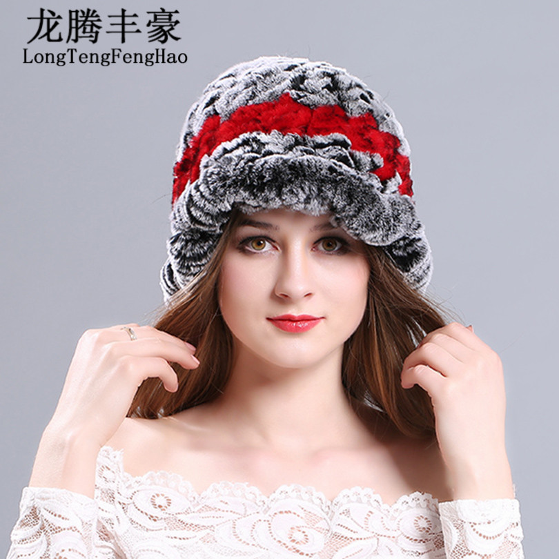 HOT SELL Women's hat Fashion Real Knitted Rex Rabbit Fur Hats Lady 2017 Winter Warm Charm Beanies Caps Fur Cap Knitted Hats lady