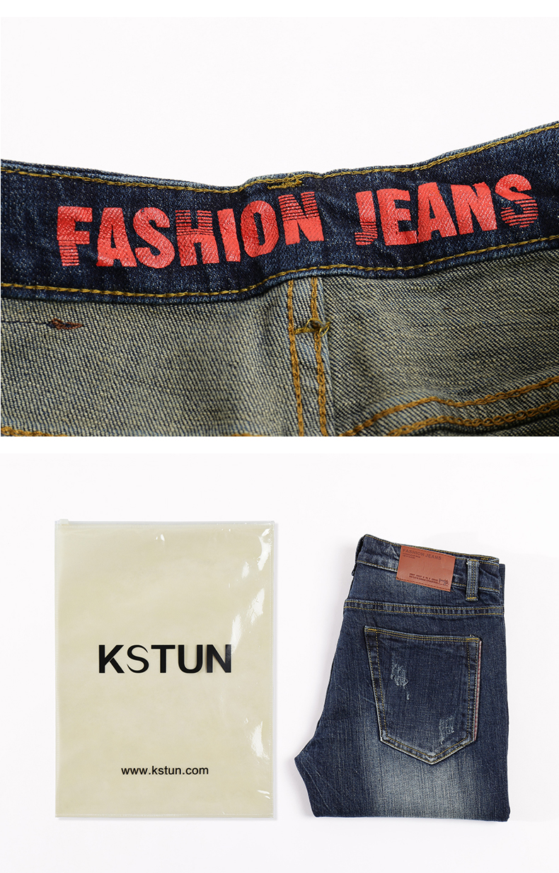 KSTUN Jeans Men Straight Slim Distressed Autumn Thick Stretch Hip Hop Streetwear Patch Printed Male