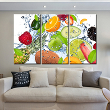 3 Panel Fruit Canvas Painting Cuadros Decoration Wall Art Lemon Strawberry Modular Pictures for Living Room Unframe Dropshipping