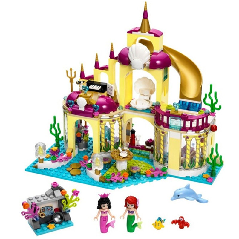 383pcs Friends Ariel's Undersea Palace Blocks Bricks Toys Girl Game House Gift Bela 10436 Compatible with 41121 10162 friends city park cafe building blocks bricks toys girl game toys for children house gift compatible with lego gift