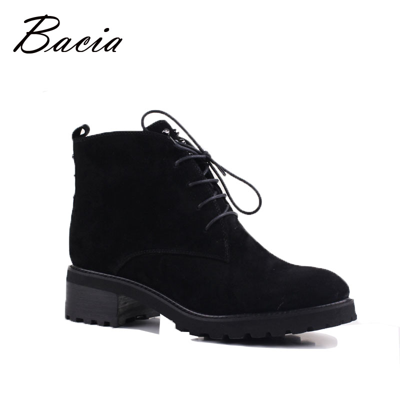 Bacia Sheep Suede Women Shoes Wool Fur Warm Winter Boots Female Genuine Leather Footwear Ankle Boots Russion Size 35-41 VE001 salu winter fashion sheep suede boots classic ankle shoes genuine leather wool fur warm square high heel women boots