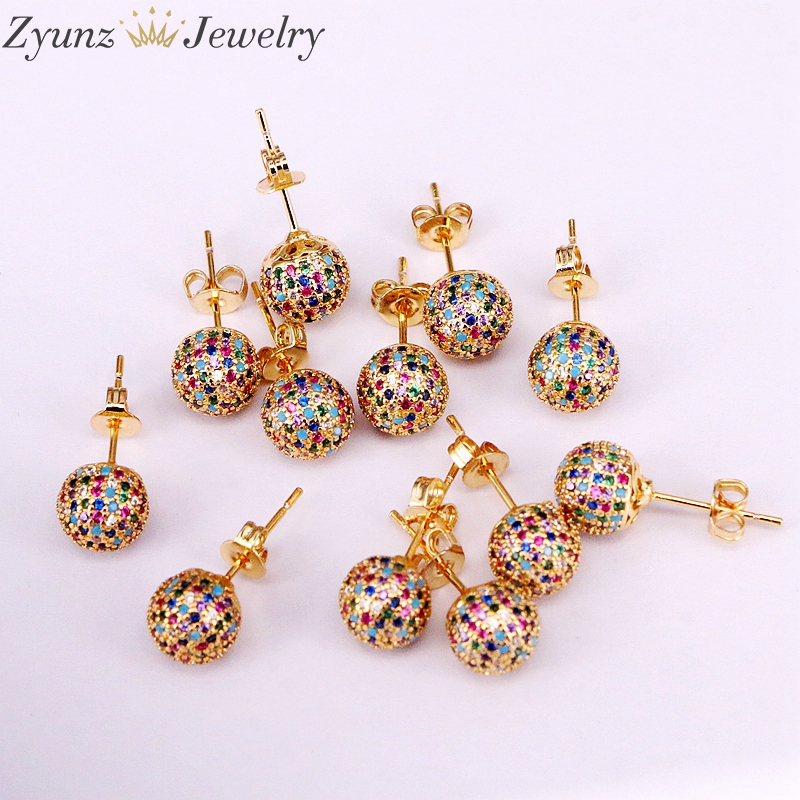 Image 3 - 5 Pairs 8mm/10mm Golden Color Copper Multicolor Cubic Zirconia  Round Disco CZ Ball Stud Earrings Womens Party Fashion JewelryStud  Earrings