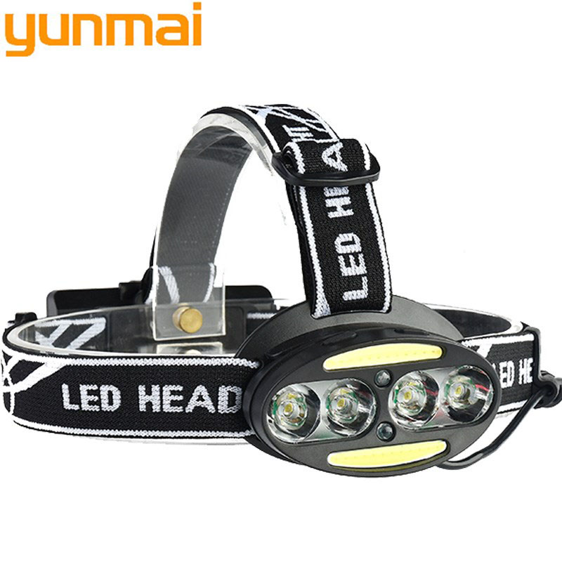 30000 Lumen Headlight headlamp 4* XM-L T6 +2*COB+2*Red LED HeadLamp USB rechargeable Flashlight Torch Lanterna with batteries fenix hp25r 1000 lumen headlamp rechargeable led flashlight