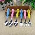 Cuchara/Tenedor de Productos Para Bebés Niños de Dibujos Animados Patrón de Los Niños Vajilla Cuchara Alimentación Con Cuchara Tenedor de Acero Inoxidable Tenedor 6 Estilos