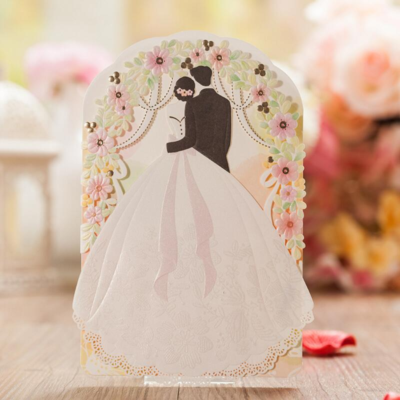 50pcs/pack Laser Cut Wedding Invitations Kits Customized Bride and Groom Floral Cards Engagement for Marriage Wedding Favors 1pcs sample laser cut bride and groom marriage wedding invitations cards greeting cards 3d cards postcard event party supplies