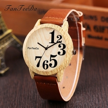 FanTeeDa Brand New Arrival Leather Strap Quartz Women Wristwatch Fashion Wooden Ladies Watches Number Sport Dress Clock FD071
