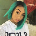 Ombre Turquoise Green Teal Synthetic Lace Front Wig Glueless Dark/Green Heat Resistant Fiber Hair Wigs New Front Lace Front Wig