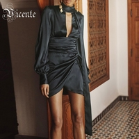 Free Shipping! Chic Navy Blue Mini Dress Sexy Key Hole Design Long Sleeves Ruched Wholesale Celebrity Party Satin Dress