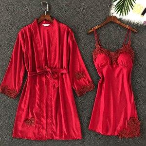 Image 3 - ZOOLIM Frauen Nachtwäsche Sexy Spitze Robe & Kleid Sets Schlaf Lounge Nachtwäsche Bademantel Nacht Kleid Robe Pyjamas mit Brust Pads
