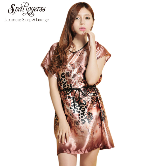 36f813b684 SpaRogerss Women Sleep Lounge Summer 2018 Leopard Print Ladies Dressing  Gown Print Casual Sleepshirts Nightgown For Woman YT7701
