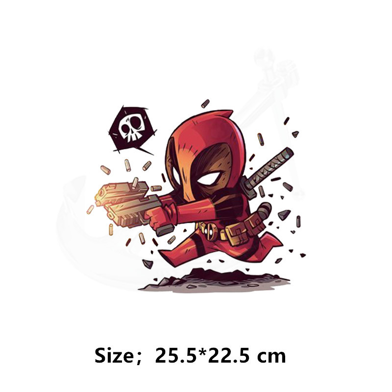 8a38812633aaf Hot Cartoon Deadpool Patch for clothing 25.5*22.5cm iron on patches Diy  child T-shirt thermal transfer sticker