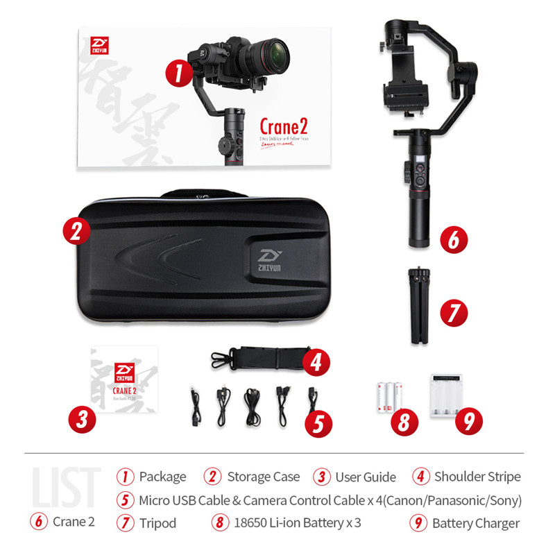 цена Zhiyun Crane 2 3-Axis Handheld Gimbal 3.2KG Real Time Follow focus Stabilizer for DSLR MIRRORLESS Cameras Dual Handle