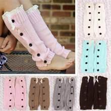 Г., высококачественные очаровательные вязаные гетры с кружевом и пуговицами для девочек, укороченные сапоги носки с манжетами
