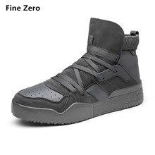 Fine Zero Male Autumn Winter High Top Snow Shoes Men Casual Walking Flats Shoes Ankle Platform Boots Men Chaussure Homme Bota