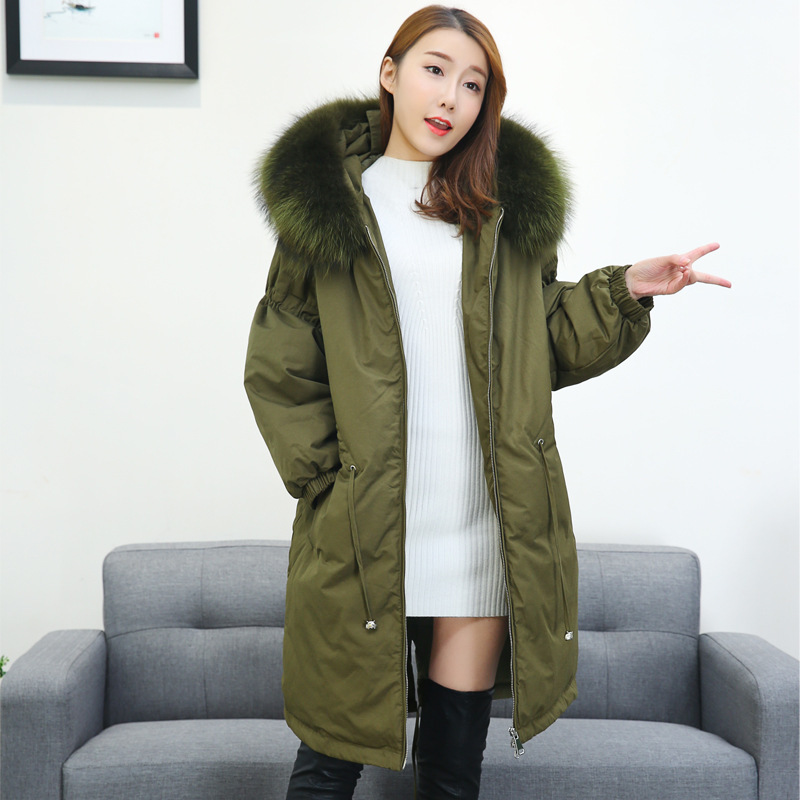 NewBang Brand Large Real Raccoon Fur Coat Women's Hooded Down Coat Female Long Down Coat Winter Loose Warm Duck Jackets Parka