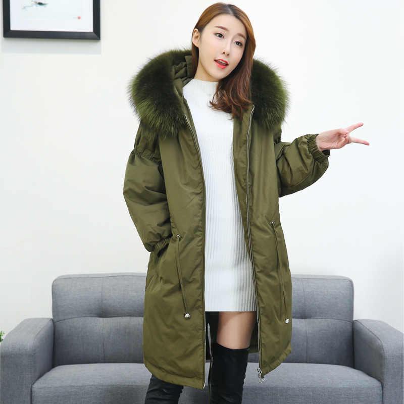 NewBang Brand Large Real Raccoon Fur Coat Women's Hooded