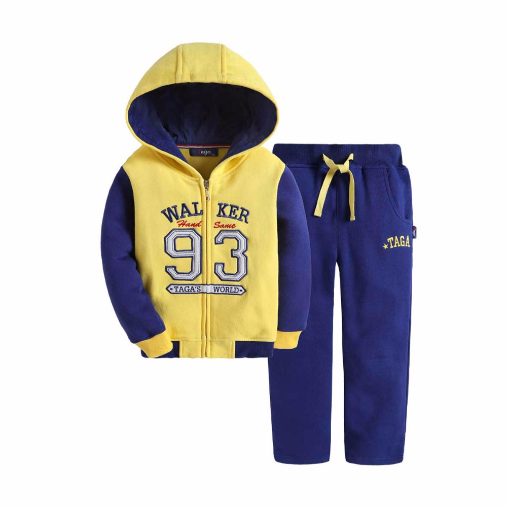 ФОТО New 2016 TAGA hood zipper baby clothes set long sleeve fleece sweatshirt male children sports outfits tops boys suits Clothing