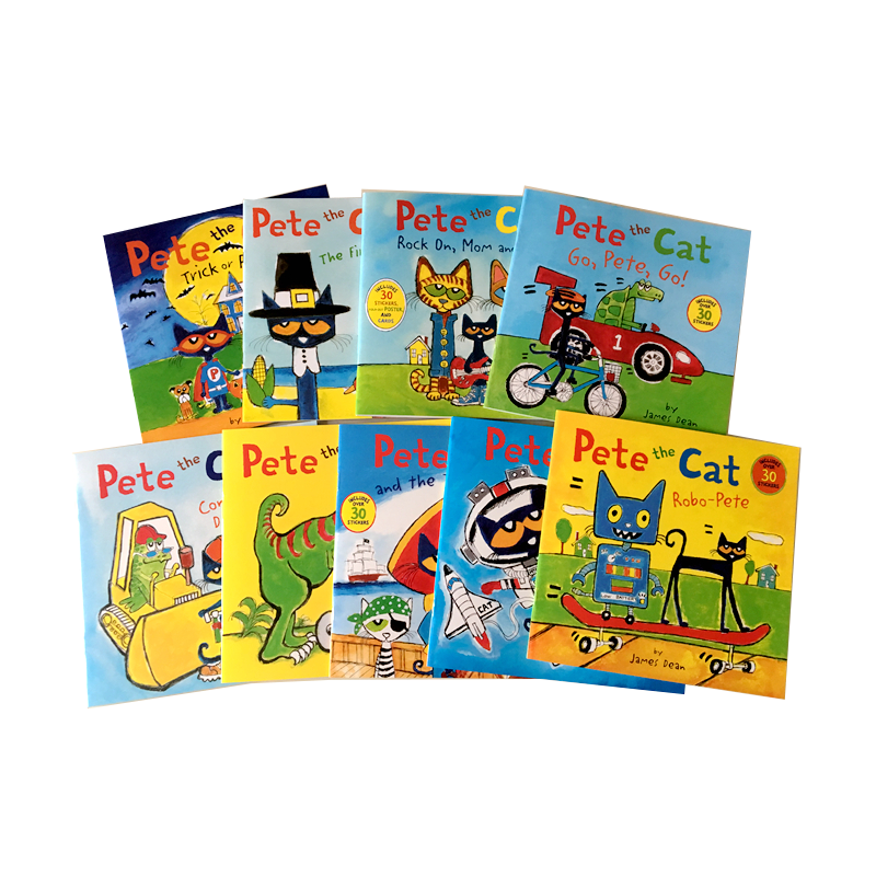 9 Books/set Pete The Cat Picture Sticker Books Children Baby Famous Story English Tales Child Book Farmyard Story Eary Education