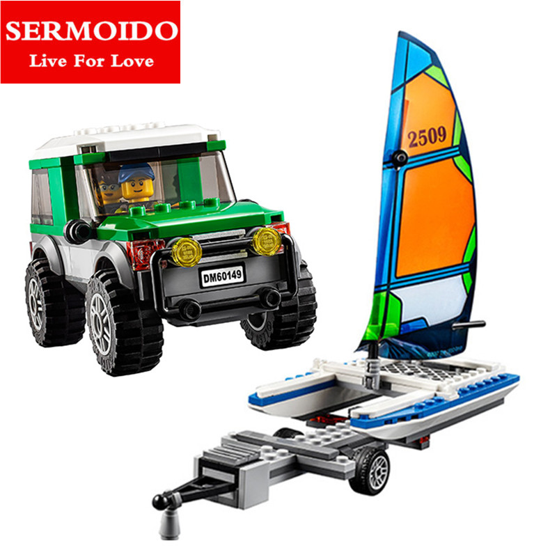 SERMOIDO City Great Vehicles 4x4 with Catamaran Building Blocks Sets Bricks Kids Model Kids Toys Marvel Compatible Lepin B266 lepin 02012 city deepwater exploration vessel 60095 building blocks policeman toys children compatible with lego gift kid sets