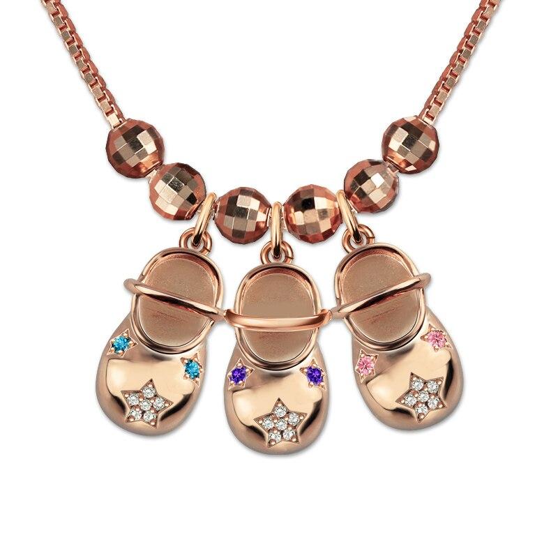 AILIN Personalizado Gravado Charme Sapata de Bebê Bundinha de Bebê Pingente com Birthstones Em Ouro Rosa Colar de Jóias Mãe (5 sapato preço)