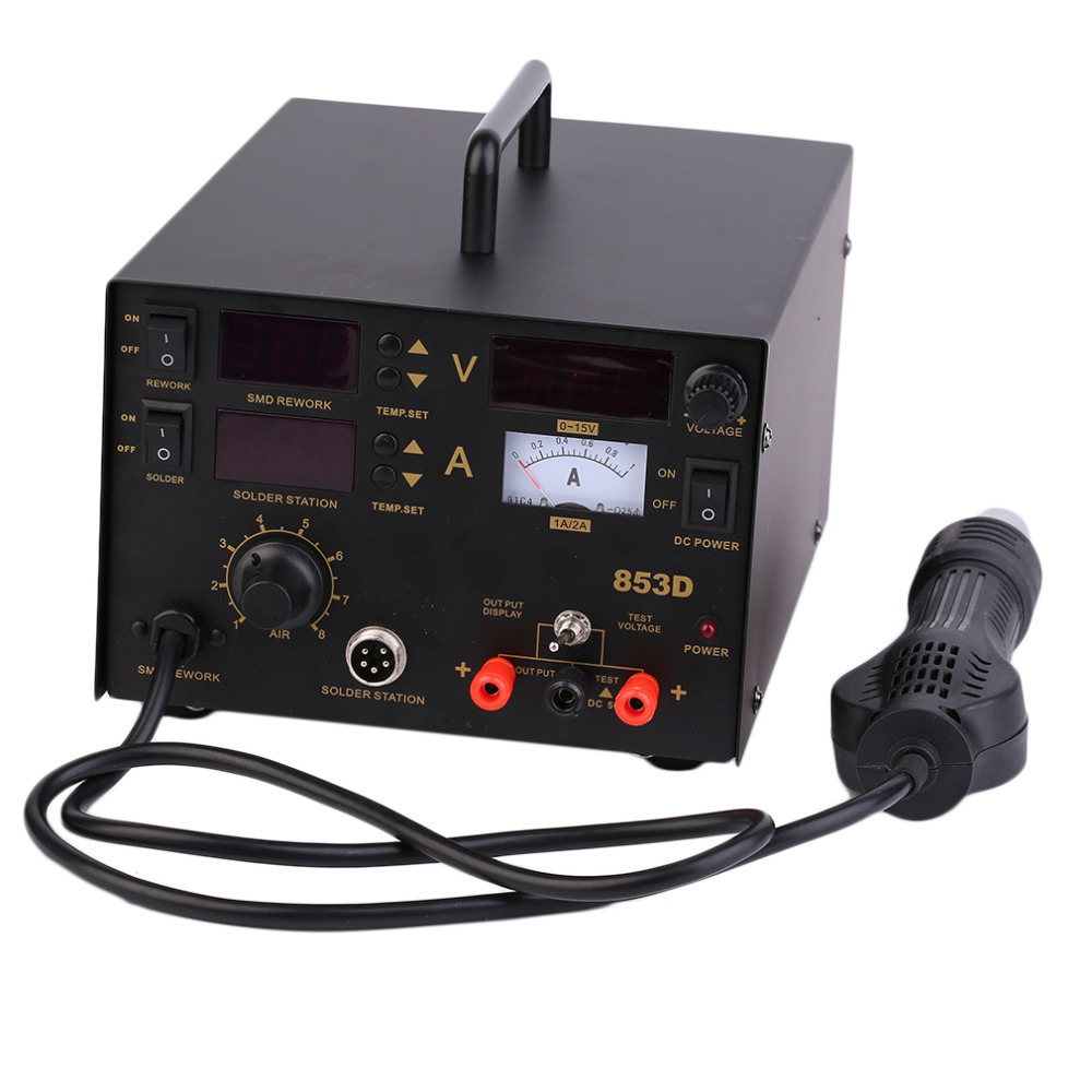 Durable 3 In 1 853D SMD DC Power Supply Hot Air Iron Gun Rework Soldering Station Welder With Quite Operation Free Shipping best price free shipping 6mmx30mm brass penny roller presssure welder roller for single ply roofing hot air gun heat gun
