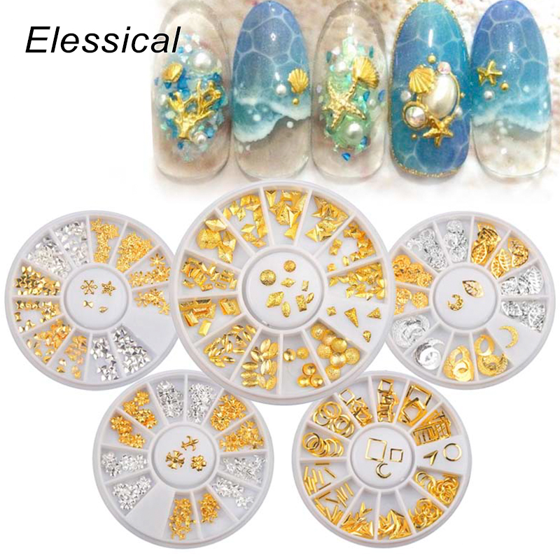 Elessical Gold Nail Rivets Copper Nail Studs Mixed 3D Nail Art Decoration DIY Manicure Jewelry Silver Nails Accessories In Wheel rose gold silver black nail beads caviar studs multi size diy 3d nail art uv gel lacquer decoration in wheel manicure accessorie