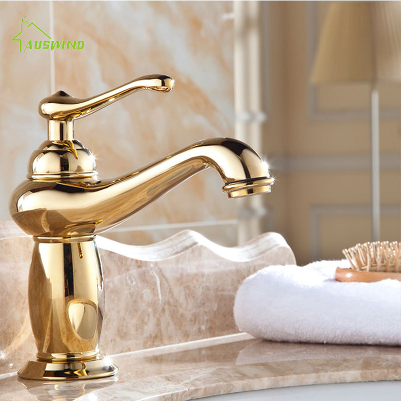 Antique Gold Brass Faucets Bathroom Polished Faucet Sink Basin Mixer Tap Bathroom Accessories Set