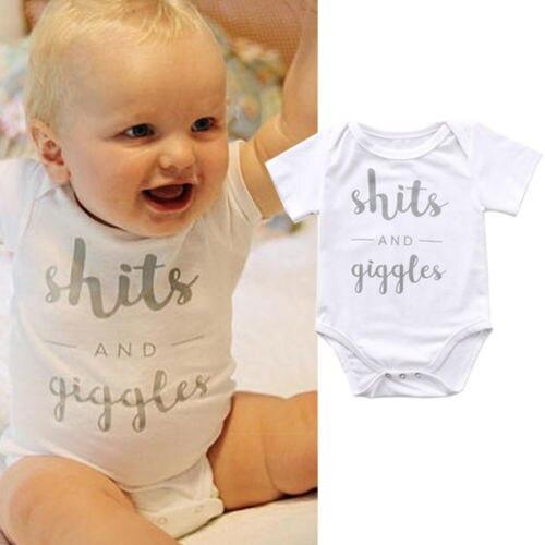 Cute Cotton Newborn Toddler Kids Letters Baby Boy Girl Bodysuit Jumpsuit Clothes Outfits 0-18M