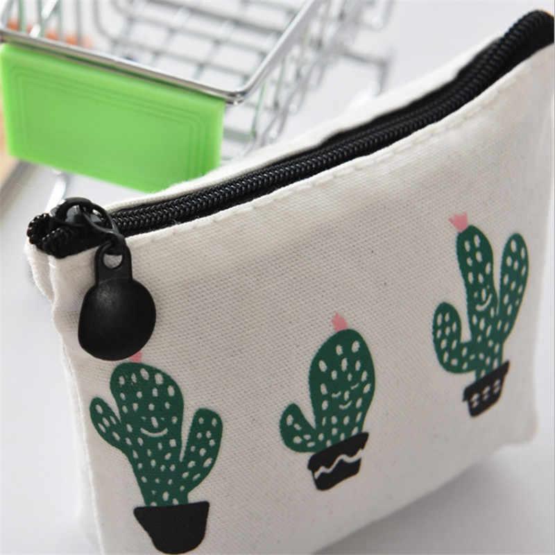 Hot 1 pcs Pequeno fresco Pequeno Bonito Crianças Bolsa Da Moeda Da Lona Bolsa Da Moeda Da Carteira Bolsa de Dinheiro das Mulheres Mudança de Cactus bolsa Saco Chave Titular