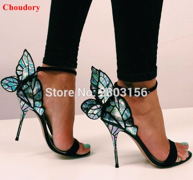Colorful Wings Thin High Heel Sandals Women Open Toe Pumps
