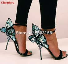 Bunte Flügel Thin High Heel Sandalen Frauen Offene spitze Schmetterling Fersen Sandalen Sexy Hochzeit Schuhe