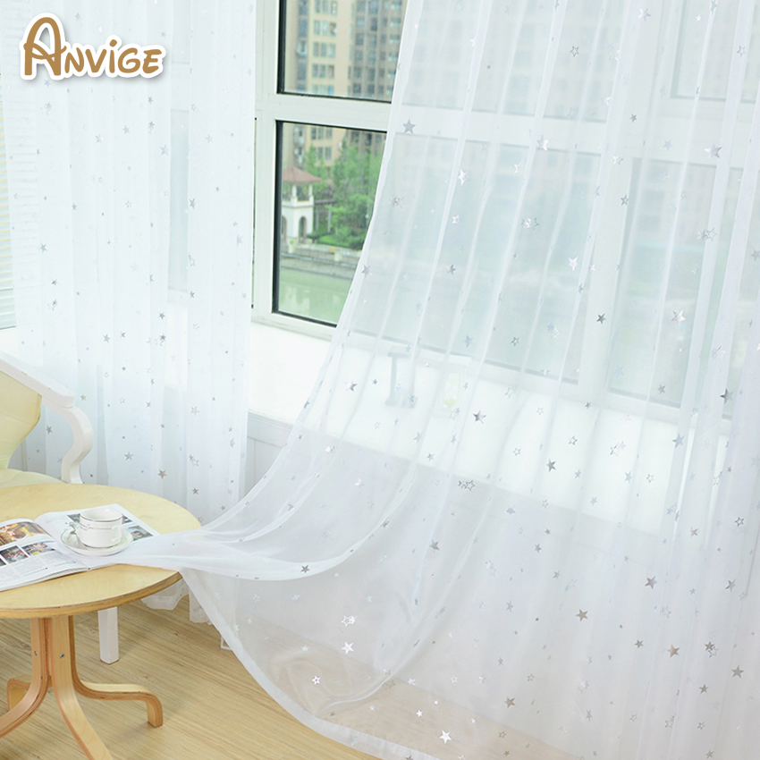 ANVIGE White Star Tulle Not Include Hook Curtains Modern Sheer ...